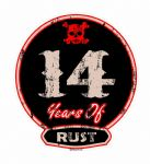 Distressed Aged 14 Years Of Rust Motif For Retro Rat Look VW etc. External Vinyl Car Sticker 100x90mm